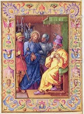 Ms 39 1601 Jesus Before Caiaphas from Passio Domini Nostri Jesu Christi Secundum Joannem by (after) Durer or Duerer, Albrecht - Reproduction Oil Painting