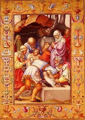 Ms 39 1601 The Entombment from Passio Domini Nostri Jesu Christi Secundum Joannem by (after) Durer or Duerer, Albrecht - Reproduction Oil Painting