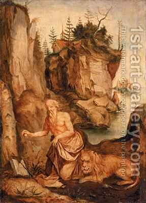 St Jerome and the Lion by (after) Durer or Duerer, Albrecht - Reproduction Oil Painting