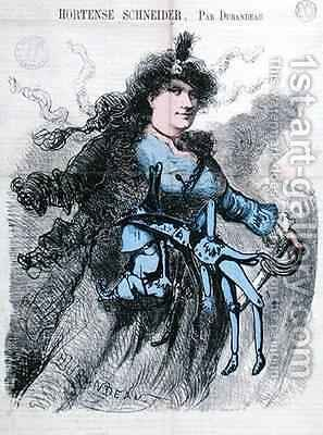 Caricature of Hortense Schneider 1833-1920 from the front cover of Le Drolatique by Durandeau - Reproduction Oil Painting
