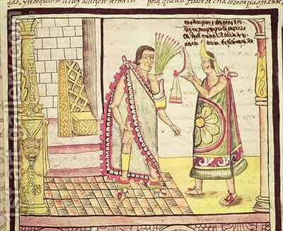 Fol 152v The Crowning of Montezuma II the Last Mexican Emperor in 1502 by Diego Duran - Reproduction Oil Painting