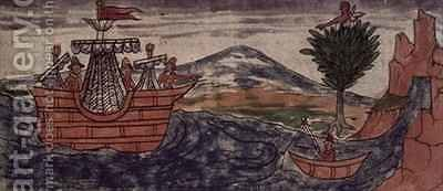 Fol 197v An Indian spy observes the arrival of a Spanish ship on the Mexican coast by Diego Duran - Reproduction Oil Painting