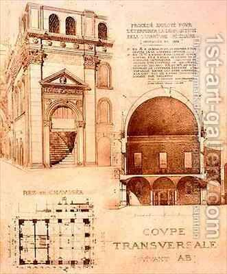 Plan Cross Section and Elevation of the Loggia or Palazzo del Commune Brescia Italy by (after) Duquesne, Eugene - Reproduction Oil Painting