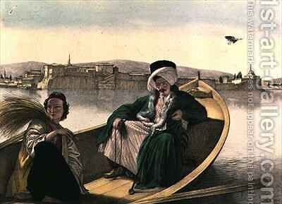 Voyage to Athens and Constantinople palace and fortress of Janina viewed from the lake a Turk and a young Greek by (after) Dupre, Louis - Reproduction Oil Painting