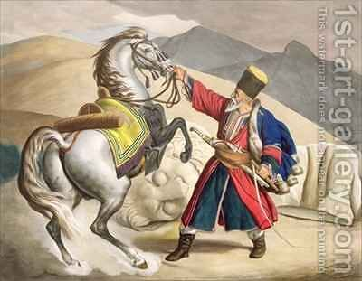 A Tartar with his Horse by (after) Dupre, Louis - Reproduction Oil Painting