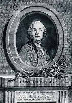Portrait of Christoph Gluck German composer by (after) Duplessis, Joseph-Siffrede - Reproduction Oil Painting
