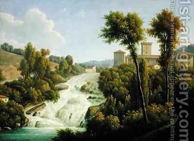 View from the Ile de Sora above the Waterfalls of the Chateau by Alexandre-Hyacinthe Dunouy - Reproduction Oil Painting