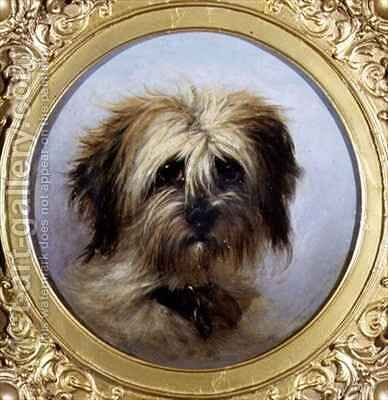 A Head of a Terrier by Agnes Dundas - Reproduction Oil Painting