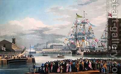 The Opening of St Katharine Docks by Edward Duncan - Reproduction Oil Painting