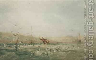 Fishermen Chasing Seagulls from the Nets Mumbles South Wales by Edward Duncan - Reproduction Oil Painting