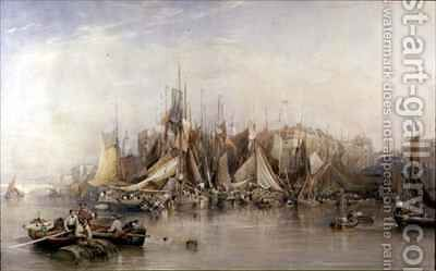 Billingsgate First Day of Oysters Early Morning by Edward Duncan - Reproduction Oil Painting