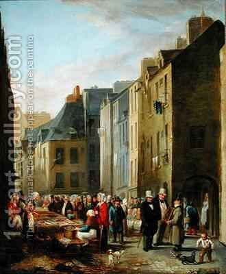 The Fish Market in Cherbourg by Bon (Mouchel) Dumouchel - Reproduction Oil Painting