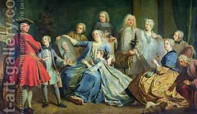 Madame Mercier 1683-1750 Surrounded by her Family by Jacques (Le Romain) Dumont - Reproduction Oil Painting