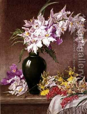 Orchids in a Vase by Mary Elizabeth Duffield - Reproduction Oil Painting