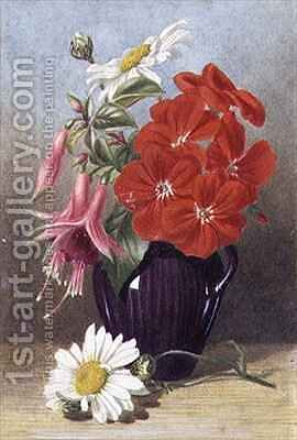 Geraniums and Fuchsias in Glazed Purple Jug by Mary Elizabeth Duffield - Reproduction Oil Painting