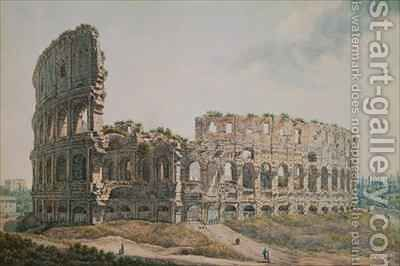 The Colosseum Rome by Abraham Louis Rudolph Ducros - Reproduction Oil Painting
