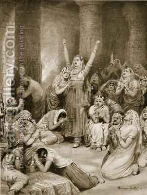The Rajput ceremony of Jauhar holocaust by Ambrose Dudley - Reproduction Oil Painting