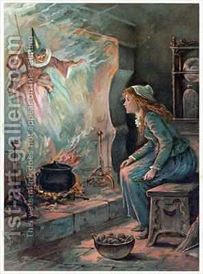 Cinderella and the Fairy Godmother by Ambrose Dudley - Reproduction Oil Painting