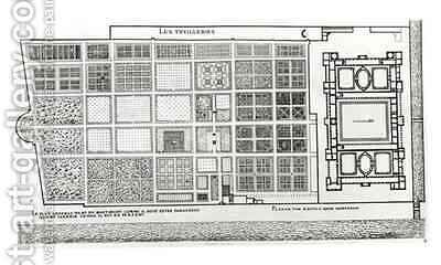 Plan of the Palace and Garden of the Tuileries in Paris in the 16th century by J. Androuet (du Cerceau) Ducerceau - Reproduction Oil Painting