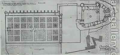 Plan of the enclosed gardens and Chateau de Gaillon 2 by J. Androuet (du Cerceau) Ducerceau - Reproduction Oil Painting