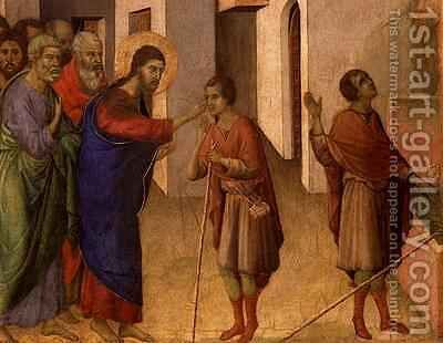 Jesus Opens the Eyes of a Man Born Blind by Buoninsegna Duccio di - Reproduction Oil Painting