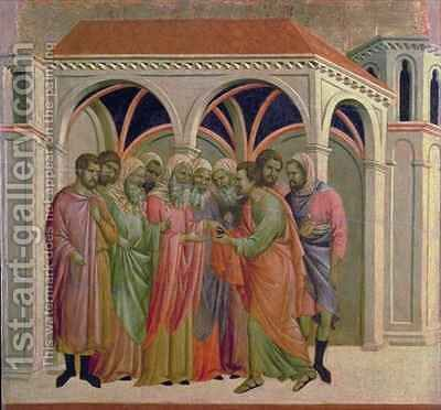Maesta Judas Receives Thirty Pieces of Silver by Buoninsegna Duccio di - Reproduction Oil Painting