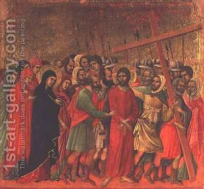 Maesta The Road to Calvary by Buoninsegna Duccio di - Reproduction Oil Painting