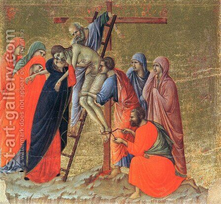 Maesta Descent from the Cross by Buoninsegna Duccio di - Reproduction Oil Painting