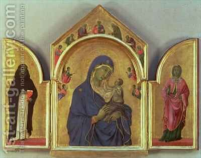 Madonna and Child with SS Dominic and Aurea by Buoninsegna Duccio di - Reproduction Oil Painting