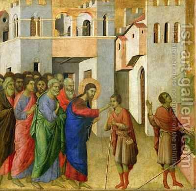 Jesus Opens the Eyes of a Man Born Blind 4 by Buoninsegna Duccio di - Reproduction Oil Painting