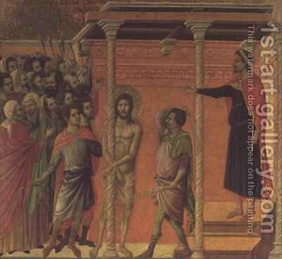 The Flagellation Altarpiece by Buoninsegna Duccio di - Reproduction Oil Painting