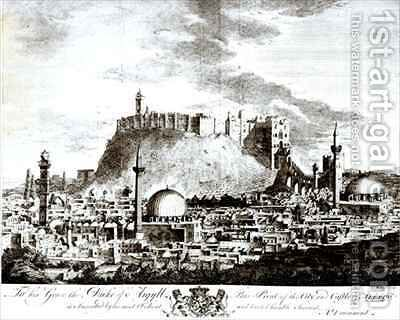 A view of the city and castle of Aleppo Syria by Alexander Drummond - Reproduction Oil Painting