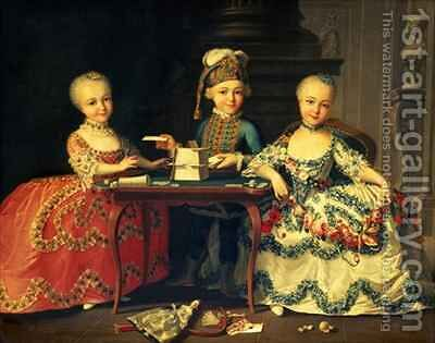 A boy and two girls building a house of cards with other games by the table by (attr. to) Drouais, Francois-Hubert - Reproduction Oil Painting
