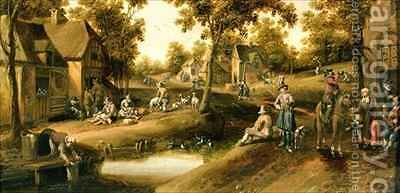 A Village Scene with Peasants on Banks of a Stream by Cornelius Droochsloot - Reproduction Oil Painting