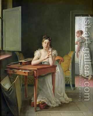 Portrait of Marceline Desbordes Valmore 1786-1859 by Martin Drolling - Reproduction Oil Painting