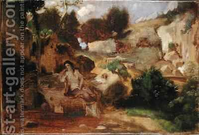 Landscape with the Penitent Magdalene by Heinrich Dreber - Reproduction Oil Painting