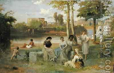 Washing on the Tiber by Heinrich Dreber - Reproduction Oil Painting