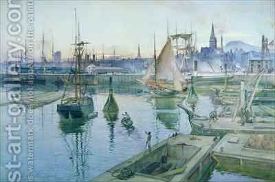 Dundee from the Harbour by James Douglas - Reproduction Oil Painting