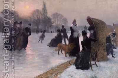 Ice Skaters by Henri-Lucien Doucet - Reproduction Oil Painting