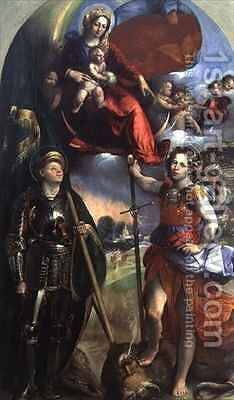 Madonna and Child with St George and St Michael by Dosso Dossi (Giovanni di Niccolo Luteri) - Reproduction Oil Painting
