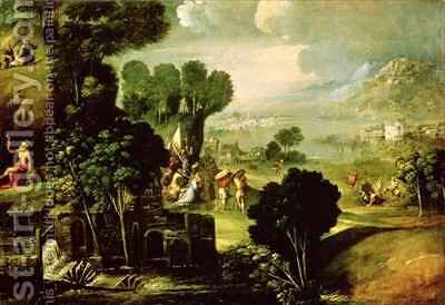 Landscape with Saints by Dosso Dossi (Giovanni di Niccolo Luteri) - Reproduction Oil Painting