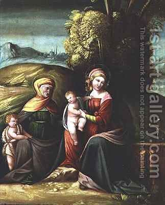 The Virgin and Child with St Elizabeth and St John in a landscape by Battista Dossi - Reproduction Oil Painting