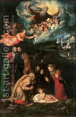 Nativity with God the Father by Battista Dossi - Reproduction Oil Painting