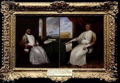 Portraits of the Parsi Master Shipbuilders Jamsetjee Bomanjee 1756-1821 and his son Nourojee Jamsetjee 1774-1860 Bombay by J. Dorman - Reproduction Oil Painting
