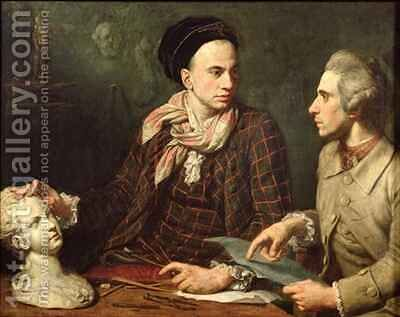 Self Portrait with Dominique Herment 1730-77 by Dominique (Guillaume Dominique Jacques) Doncre - Reproduction Oil Painting