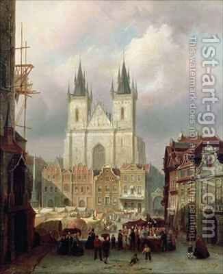 The Old Market Place at Prague by Cornelis Christiaan Dommelshuizen - Reproduction Oil Painting