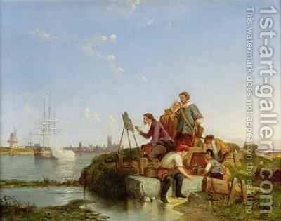 Artist at his Easel and Shipping beyond by Cornelis Christiaan Dommelshuizen - Reproduction Oil Painting