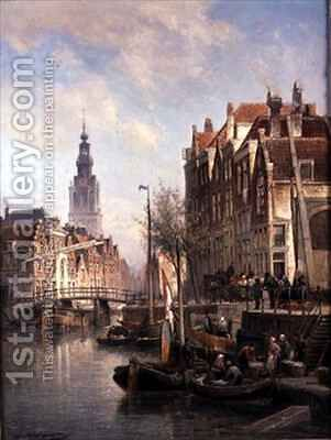 Street Scene on a Canal by Cornelis Christiaan Dommelshuizen - Reproduction Oil Painting