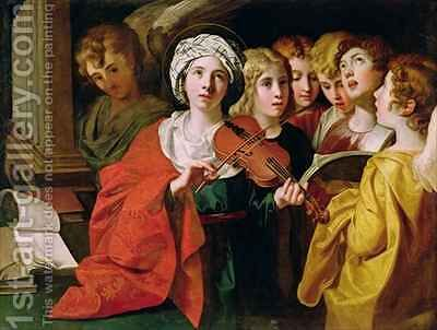 St Cecilia with a Choir by Domenichino (Domenico Zampieri) - Reproduction Oil Painting