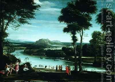 Landscape with St John Baptising by Domenichino (Domenico Zampieri) - Reproduction Oil Painting